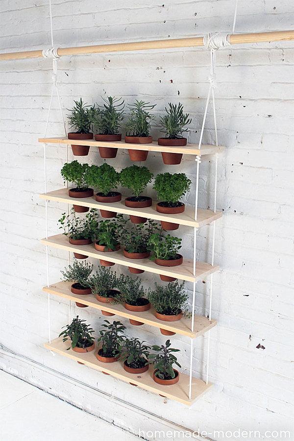 Herb Planter Ideas Part - 49: DIY-hanging-HErb-garden