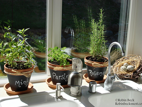 Herb sink chalkboard painted clay pots