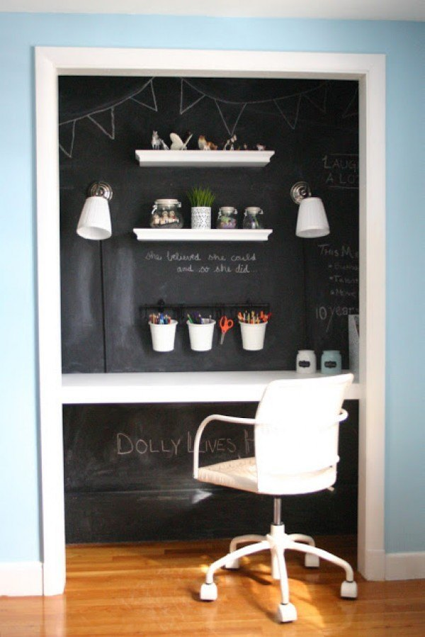 small-home-office-chalckboard-paint-wall