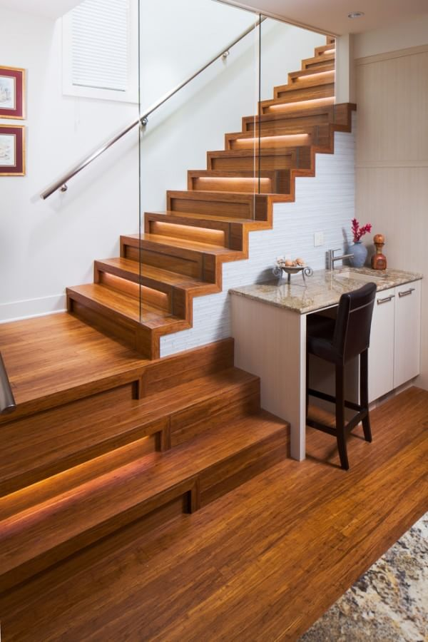 wooden contemporary staircase island - Wooden Stairs
